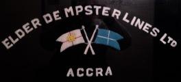 Embroidered Elder Dempster Line jersey logo.